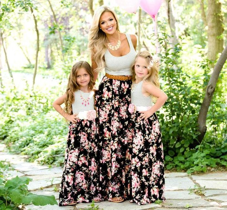 Floral maxi dress mommy and daughter with images