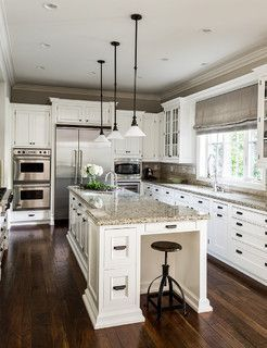 Just about perfect!  Dark walls, white cabinets, dark traditional pulls, mid-tone granite.  Love the style of the pendants and the use of glass.