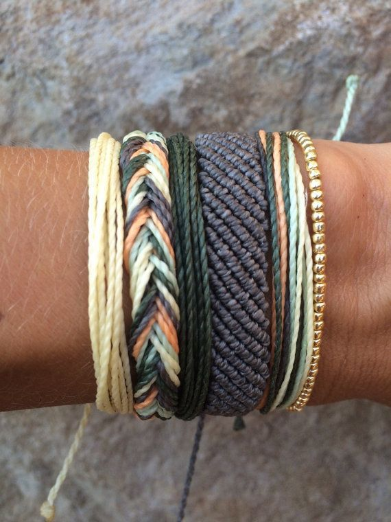 DIY Jewelry: Set of 5 string bracelets stackable bracelet wax string bracelet waterproof bracelet  Army Wives