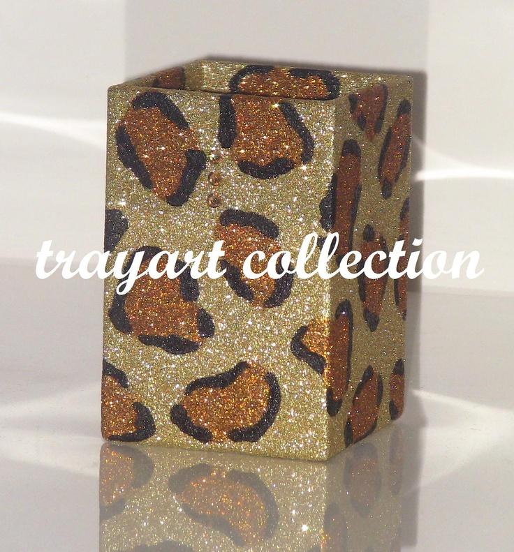 PEN HOLDER Gold Bronze Leopard Animal Pattern   Basic Office Classroom Or  Houseware Supplies   Trayart