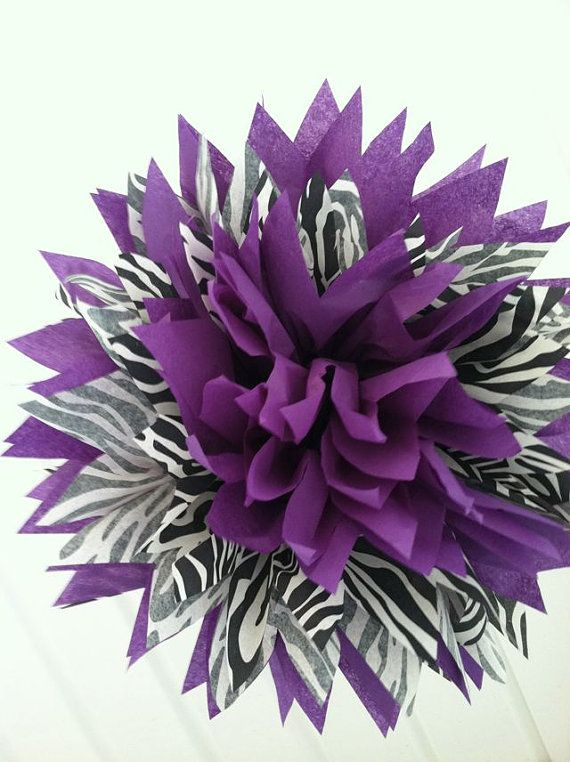 Set of 5 Zebra and Purple LARGE Poms (OR Pick Your Color To Go With Zebra) - $25 for 5 -- LOVE :)