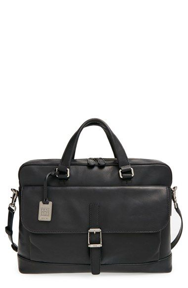 Free shipping and returns on Frye 'Oliver' Leather Briefcase at Nordstrom.com. A handsome, pull-up black leather briefcase with a hand-distressed antique patina holds the professional character to wow in the office or a business meeting. The top-zip two-compartment design with an exterior buckle-flap pocket allows for easy organization of paper documents and electronics. A removable shoulder strap makes for easy hands-free carrying when commuting.