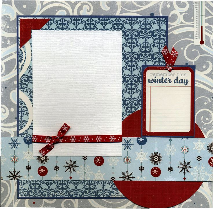 12x12 Premade Scrapbook Page - Remember This Winter Day. $15.95, via Etsy.