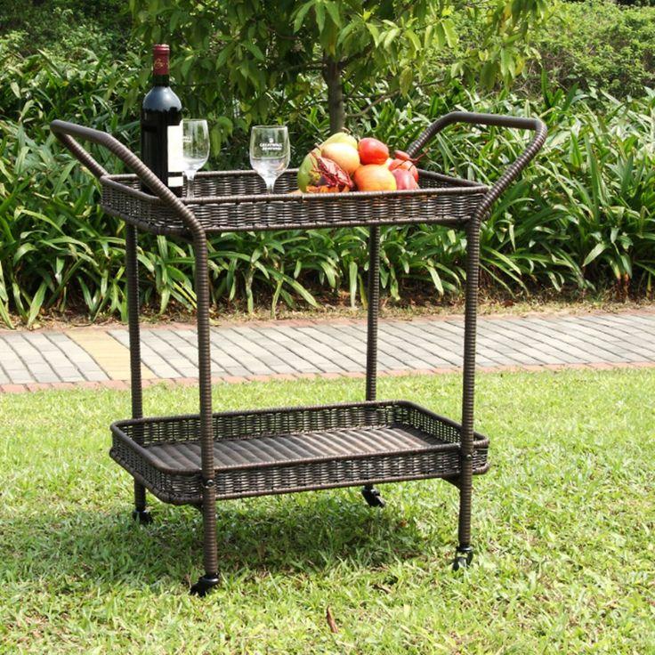 Jeco Outdoor Wicker Patio Furniture Serving Cart   Outdoor Serving Carts At  Hayneedle