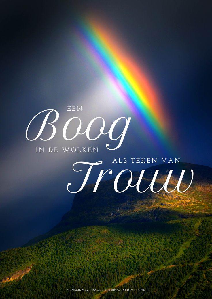 Een boog in de wolken als teken van trouw . Staat boven mijn leven zegt: 'Ik ben van jou'. In tijden van vreugde, maar ook van verdriet. Ben ik bij u veilig. U die mij ziet. Uit een nummer van Sela. Mijn boog heb Ik in de wolken gegeven; die zal dienen als teken van het verbond tussen Mij en de ... #Trouw https://www.dagelijksebroodkruimels.nl/genesis-9-13-v2/