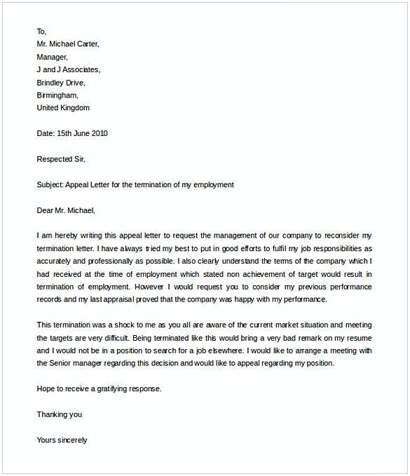 Template Termination Letter Format Sample Job Letter Letter