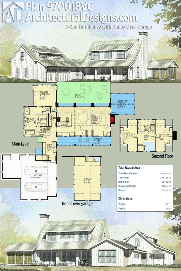 Architectural Designs Farmhouse Plan 970018VC gives you 3 bedrooms, a bonus room over the garage, a second floor with light from the shed former in front, a screened side porch and a large deck in back. Over 2,200 square feet of heated living area ready when you are. Where do YOU want to build?