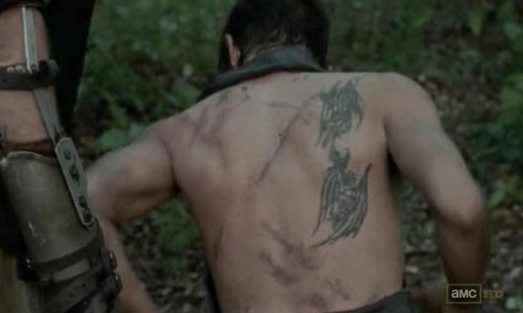Daryl Dixon's (Norman Reedus) scars NOT the tattoos in Episode 10 of AMC's The Walking Dead