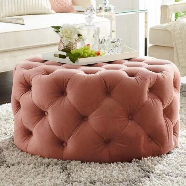 Tufted Ottoman Light Gray Pink Beige Deep Blue Velvet Ottoman Coffee Table Tufted Cocktail Ottoman Round Ottoman Pouf Small Large In 2020 Round Ottoman Ottoman Decor Tufted Ottoman Coffee Table