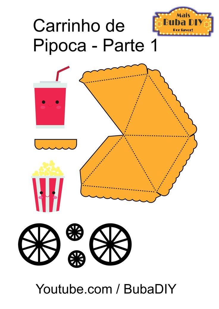 Carrinho de Pipoca - molde 1 | Decoração de festa cinema em casa