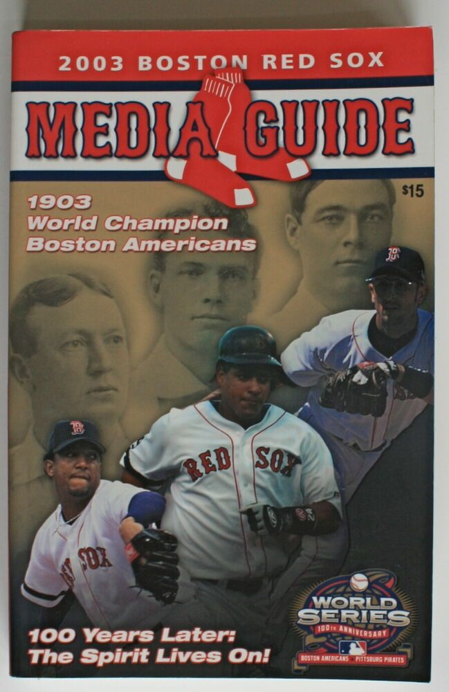 d1f90b707 2003 BOSTON RED SOX 512 Page MEDIA GUIDE 1903 Team on Cover~ Bobby Doerr  Estate