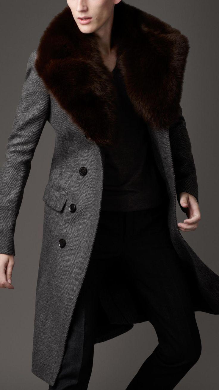 Burberry London Fur Overcollar Pea Coat