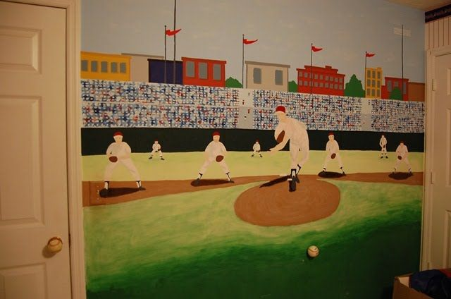 1000 images about mural time on pinterest bedroom boys for Baseball mural wallpaper