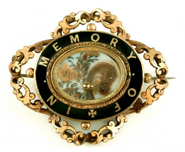 Victorian Hair Work Mourning Brooch