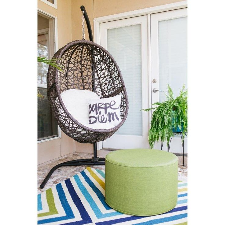 Island Bay Resin Wicker Hanging Egg Chair with Cushion and Stand - Hammock Chairs & Swings at Hayneedle