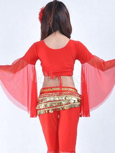Tenue de danse du ventre femme coton mixte clair rouge-No.2