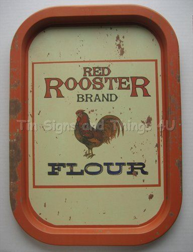 Red Rooster Flour Tin Sign Serving Tray Vtg Metal Home Decor Chicken Rustic  OHW