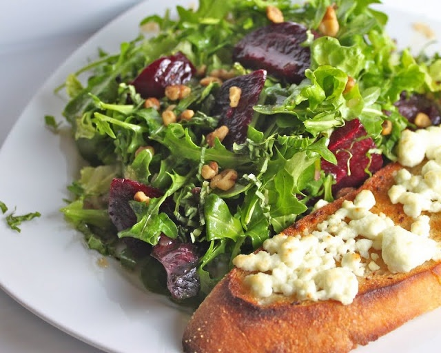 ... Arugula Salad with Roasted Beets, Caramelized Walnuts and Goat Cheese