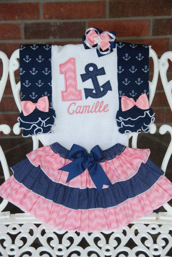4 pc. Girls Nautical Birthday Outfit Baby Girl by RuffleDarling....omg I want for baby girls first birthday!!!! :)