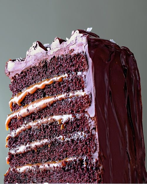 Salted-Caramel Chocolate Cake Recipe.  Six delicious layers tall