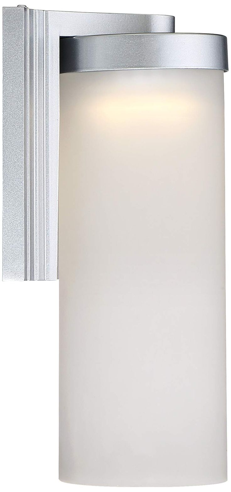 """Set of 2 Cleo 10 1/2"""" High Silver LED Outdoor Wall Lights"""