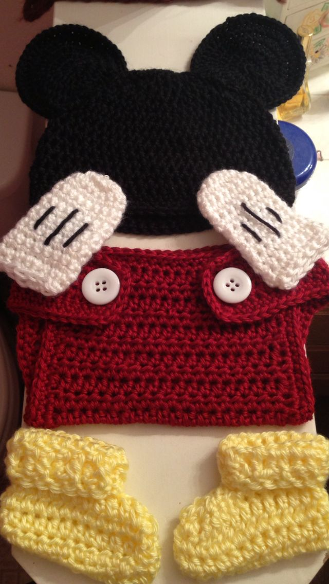 The 9 best crochet work images on pinterest knit crochet crochet melanie702s mickey mouse baby outfit reheart Choice Image