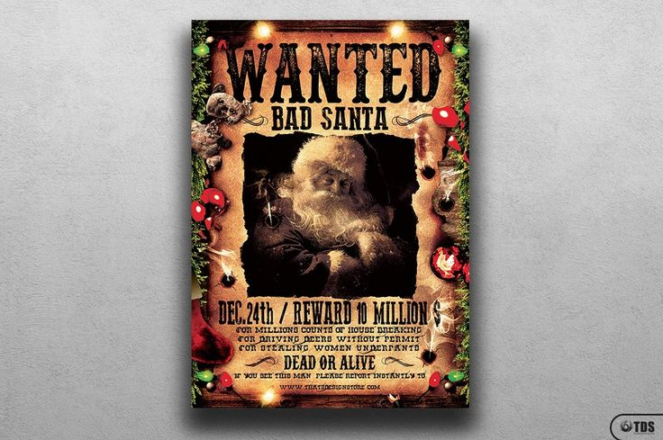 **This item is also included in 2 flyer bundles:**- **Massive 300 Flyers Bundle:** https://crmrkt.com/9O9Ee- **114 Seasonal/Holidays Flyers Bundle:** https://crmrkt.com/J76DV------**WANTED BAD SANTA FLYER TEMPLATE:**- 1 Photoshop psd file, 1 help file.- A4 size (21×29.7 cm) or (8.3×11.7 inch) with b