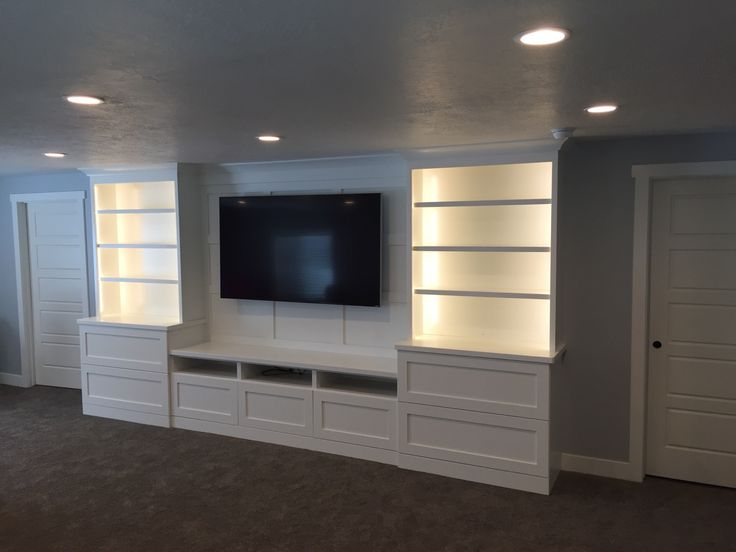White Shaker Entertainment Center With Batten Board Tv