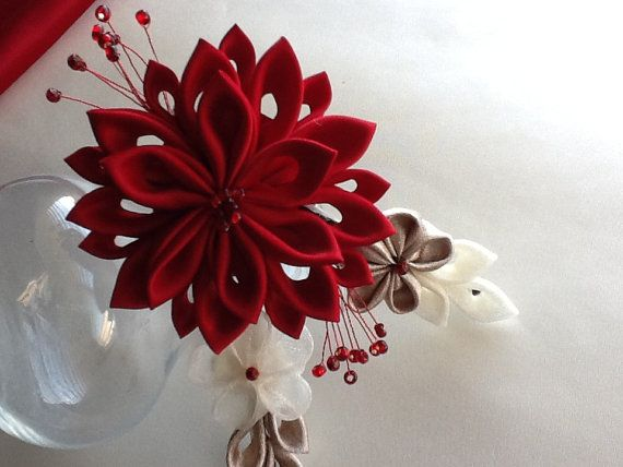 Alligator Hair Clip - Red, Gold & Ivory Kanzashi Flowers with Glass Beads