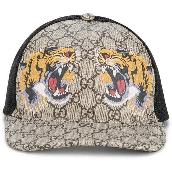 Gucci Gucci Tigers Print Gg Supreme Baseball Cap ($260) ❤ liked on Polyvore featuring men's fashion, men's accessories, men's hats, brown and gucci mens hat