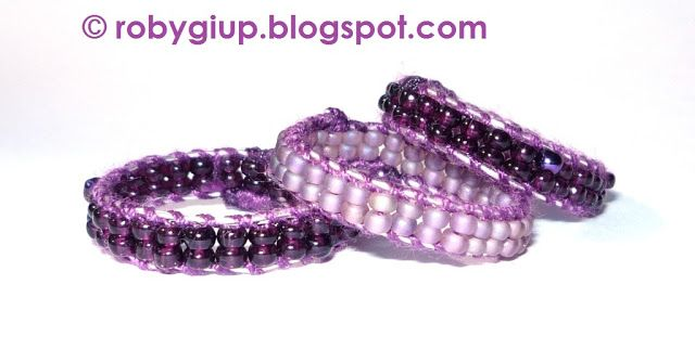 RobyGiup Handmade: Altro tris di anelli in perline viola - Other three rings in purple beads #ring #purple #beads