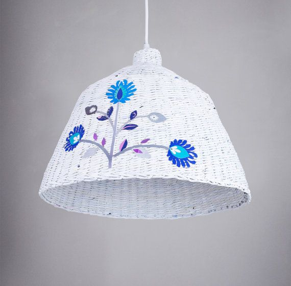 Hanging lamp ethnic style Industrial style pendant light White eco ceiling paper lamp Designers Oryginal handmade eco lamp, Industrial Folk