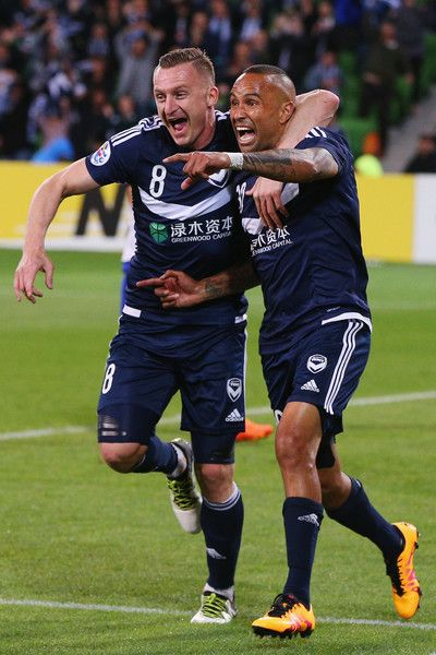 Archie Thompson Photos Photos - Archie Thompson of the Victory (R)  celebrates a goal with Besart Berisha during the AFC Champions League match between Melbourne Victory and Gamba Osaka at AAMI Park on May 3, 2016 in Melbourne, Australia. - AFC Champions League - Melbourne Victory v Gamba Osaka