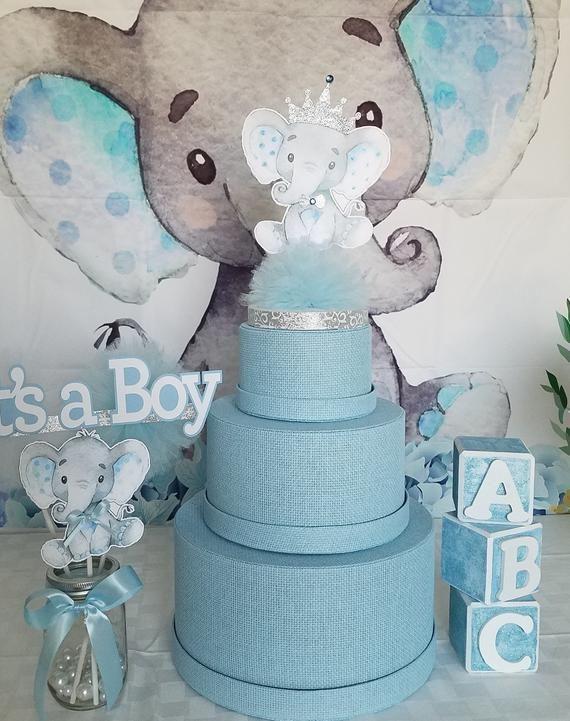 Elephant Baby Shower Cake Topper Centerpiece Boy Elephant Baby