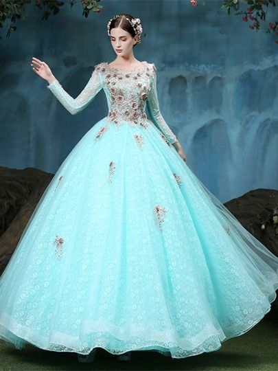 8fc707df2fd Long Sleeves Scoop Ball Gown Appliques Lace Floor-Length Quinceanera Dress   tbdressreviews