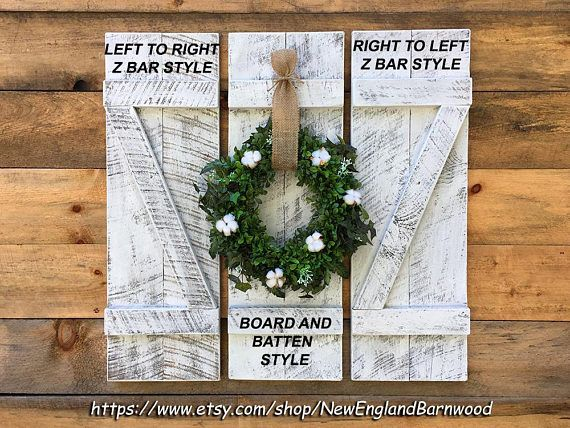 Distressed Shutters,Board and Batten Shutters- Handmade whitewashed decorative wall mount wood shutters. PRICE SHOWN IS FOR ONE SINGLE SHUTTER. These Rustic Board and Batten Shutters, Window Shutters are created from sawmill, one-inch thick, weathered pine wood and authentic old