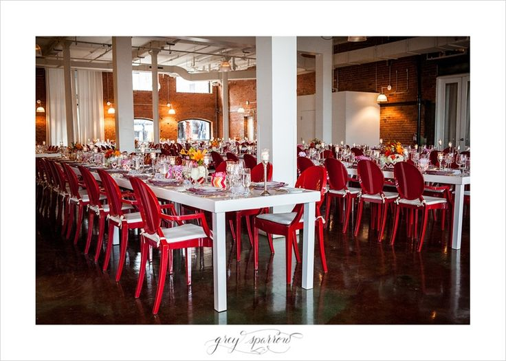 red wedding chairs