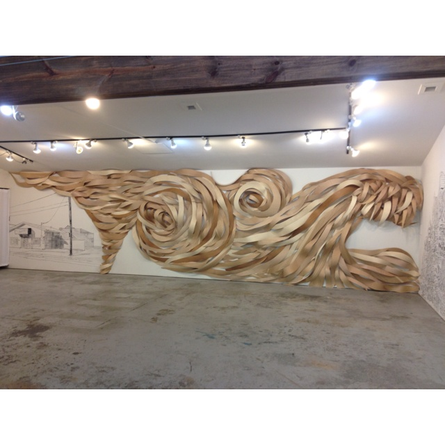 Wood veneer wall drawing.: Art Instil, Art Stuff, Arti Stuff, Wood, Hammond Tornados, Art Sculpture Installations, Artsy Fartsi, Installations Art, Wall Drawings
