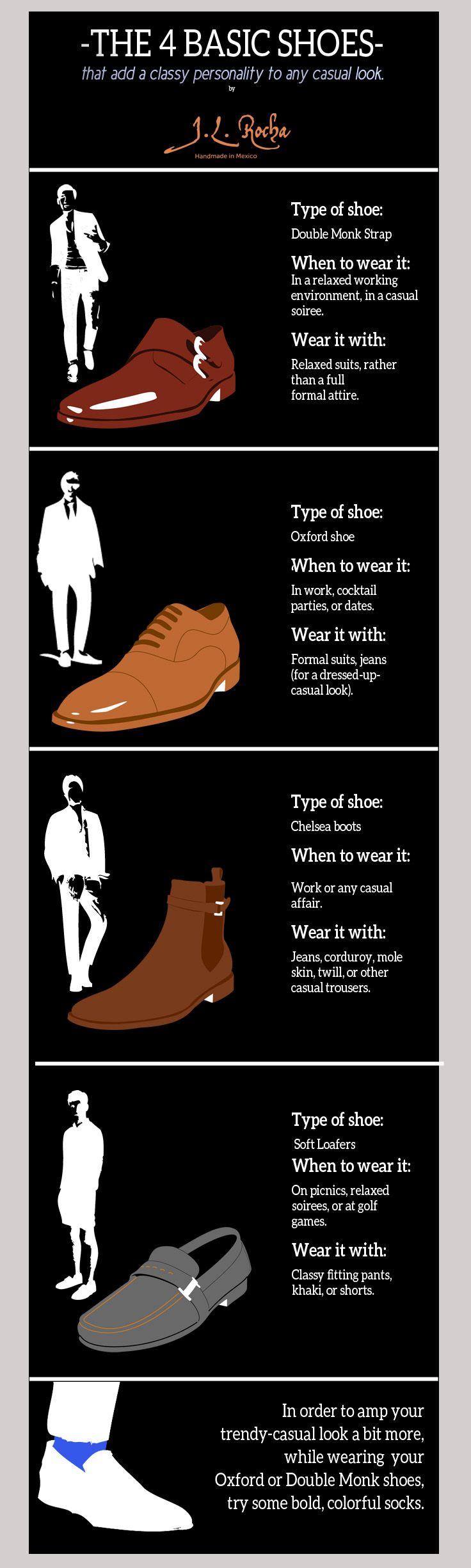 The 4 Basic Shoes that add a classy personality to any casual look.