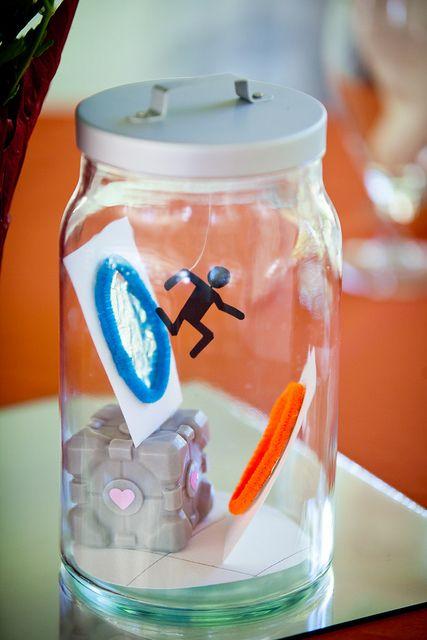 Geeky terrarium centerpieces FTW! Portal companion cube video game centerpiece wedding reception geek geeky