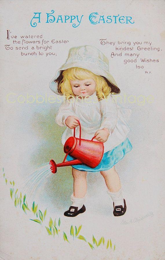 Ellen Clapsaddle Girl Watering Flowers Easter Postcard Antique Illustration Digital Image Instant Download, Victorian Vintage Postcard