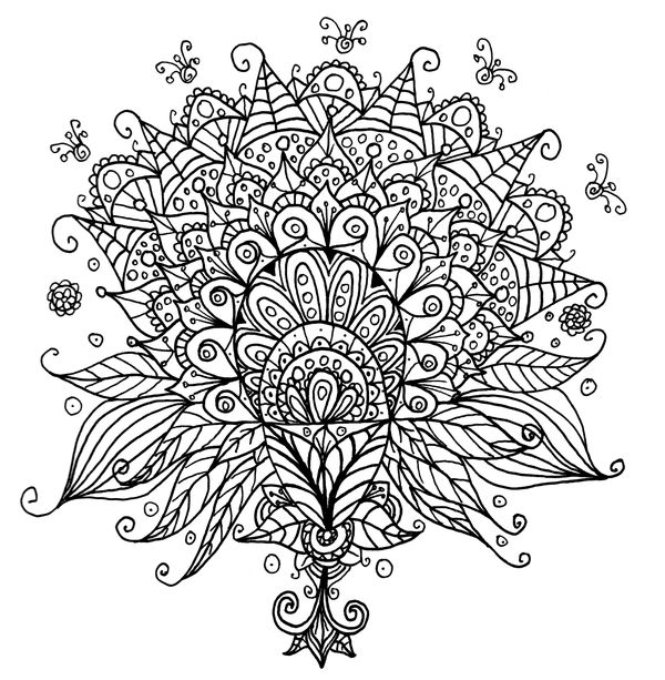 A Framed Flower Line Art Doodle For Colouring Feel Free To Print Off The Full Size File And Colour It