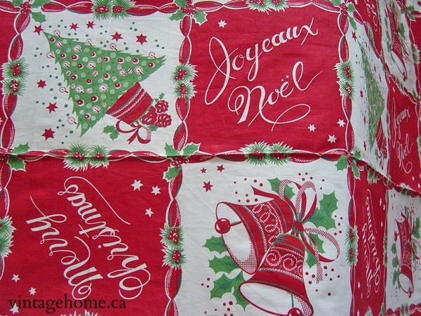 31 best Vintage Christmas tablecloths, fabrics and table linens ...