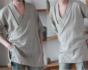 160---Men's Flax Kimono Shirt, Made to Order.