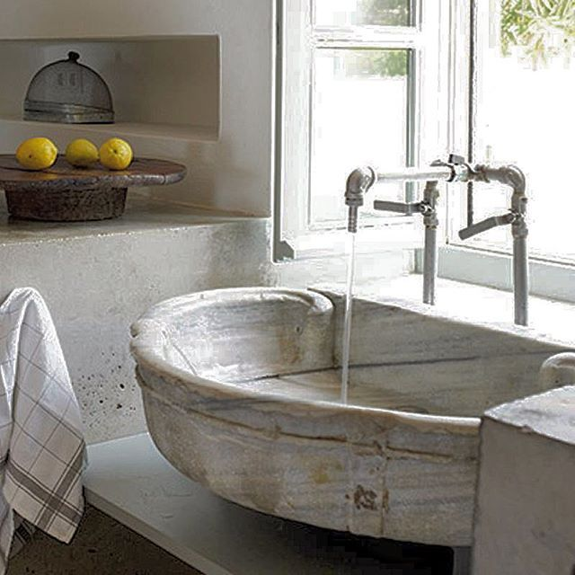 17 best images about antique stone sinks by ancient surfaces on pinterest modern bathrooms - Kitchen sink in french ...