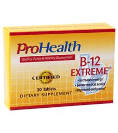 B-12 Extreme (Sublingual Vitamin B12 Pill). The Most Potent Vitamin B-12 on Earth. For mental acuity,  energy, liver support, and detoxification. Provides all four forms of B-12. Includes the only two biologically active forms of B-12 . Available at ProHealth.com ($46.49) #ProHealth