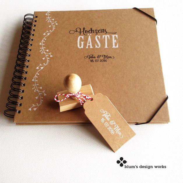 """**Handbedrucktes Gästebuch/Fotoalbum passend zu meiner Stempel-Serie mit der Blütenranke **  Das Gästebuch kommt fertig bedruckt mit """"Unsere GÄSTE"""" oder """"Hochzeits GÄSTE"""" oder """"Geburtstags..."""