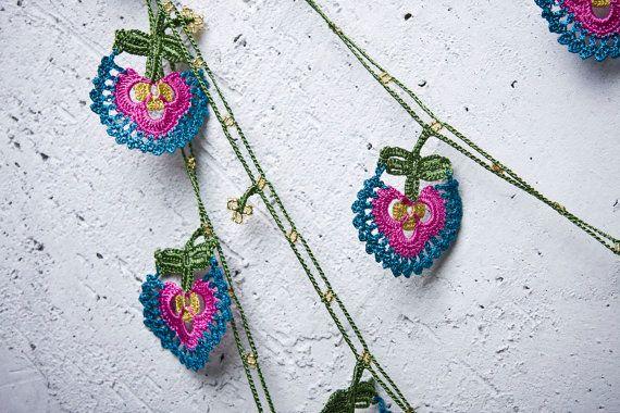 "turkish lace - needle lace - crochet - oya necklace - 145.67"" - free worldwide shipment with UPS - bahar-015"