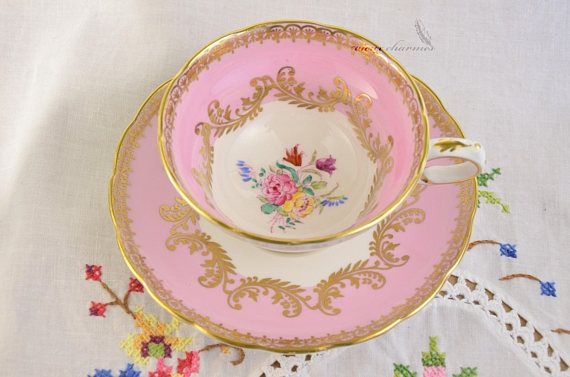 Grosvenor pink cup and saucer pink tea cup hand painted tea