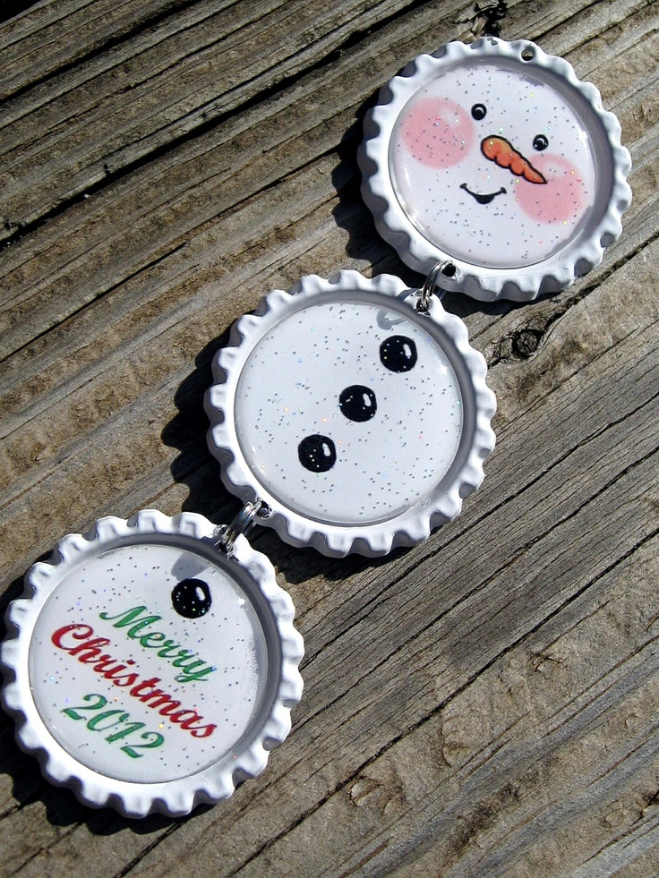 Snowman Bottle Cap Ornament Handmade Personalized Christmas Ornament Baby's First Christmas. $6.50, via Etsy.